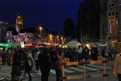 Night view on the Sint Jacobs square during the 2011 Ghent Festivities (Gentse Feesten), Belgium.