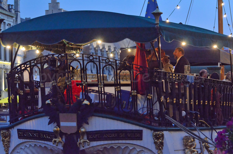 Evening view on the Gentse Barge, a party boat anchored along the Kraanlei in Ghent (Gent), Belgium during the 2011 Ghent Festivities (Gentse feesten).