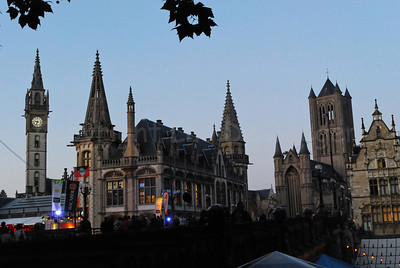 A view on different towers in Ghent (Gent), Belgium shot from the Sint Michielsbrug (St Michael's bridge) during the 2011 Ghent Festivities (Gentse feesten).