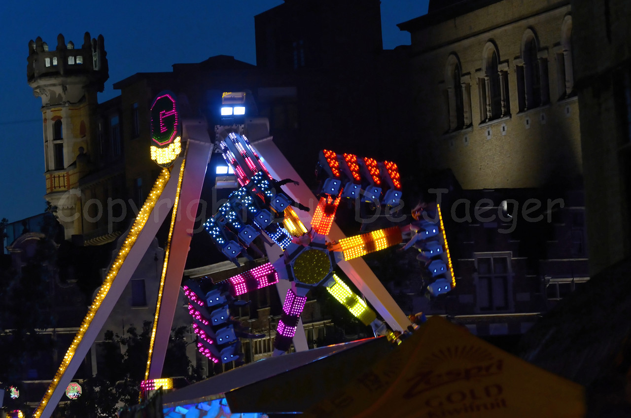 The Fun Fair at night at the Vrijdagmarkt in Ghent (Gent), Belgium, during the Ghent Festivities (Gentse feesten)