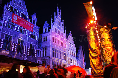 The highly colorful Pole Pole Festival during the Ghent Festivities (Gentse Feesten) 2007 in Belgium is one of the many attractions bringing thousands of people to the place between Graslei and Korenlei.