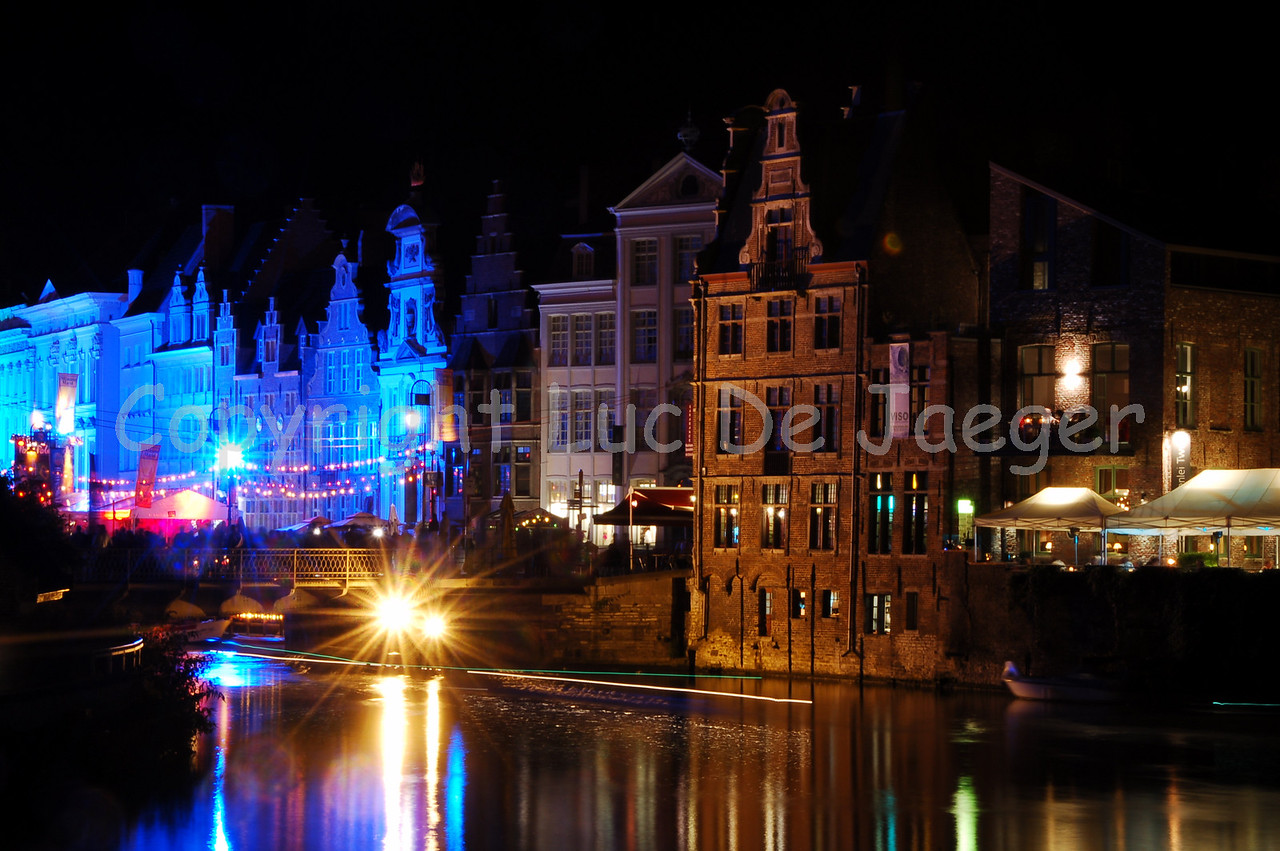 Night image with a view on the colorful pole pole festival (the blue lighted buildings).