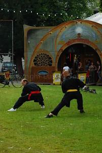 Demonstration of kind of a Vietnamese combat sport in the Baudelopark (Ghent/Gent, Belgium) during the Ghent Festivities (Gentse Feesten).