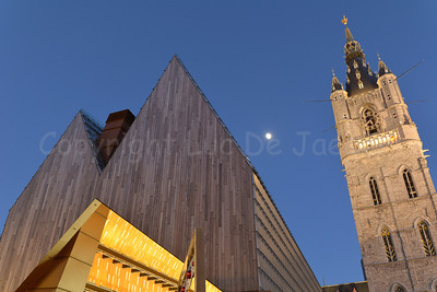 View on the City Pavilion (Stadshal) on the left that served as an Ice Rink during the Winterfeesten (Winter Fest). On the right is the Belfry tower.