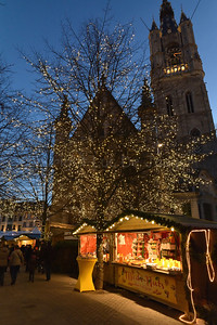 View on the Christmas Market at dusk.