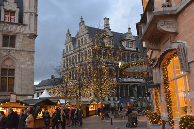 View on the Christmas Market in front of the Town Hall, captured at dusk.