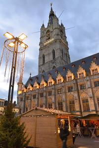 View on the Belfry (Belfort) during the Winterfeesten (Winter Fest).