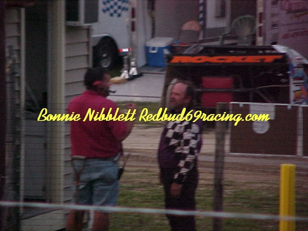 Georgetown Speedway August 4, 2006 <br /> Race Director Matt Bailey talking to a driver