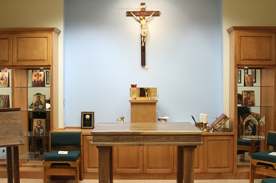 Georgia State University chaplain Father Stephen Lyness led an effort to furnish the chapel once the university approved a permanent worship space for the school's Catholic Students Association at the end of 2010. Through the generosity of benefactors, approximately $10,000 was raised to do so.
