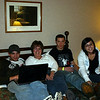 Cory, Lori, Alex and Erin relaxing in the room before heading to the waterpark.  ( 2009 )