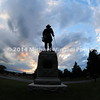 Statue at entrance to Gettysburg National Military Park at dusk  MIN_9056