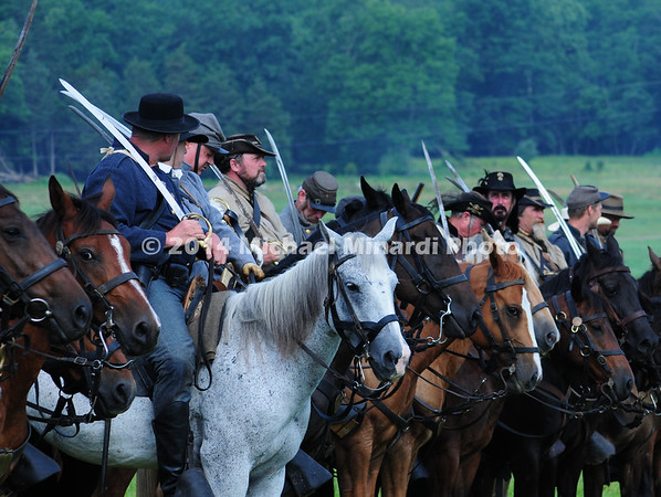 Rebel horsemen draw their sabers before East Cavalry Field Battle MIN_9294B