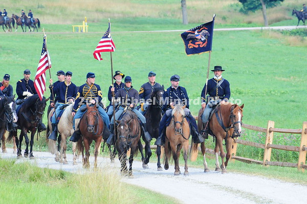 Union Cavalry leaves camp for battle at McPherson's Ridge  MIN_9168