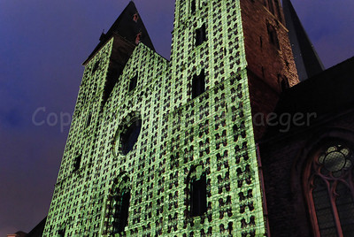 Changing patterns on the St Jacob's church (Sint Jacobskerk) in Ghent (Gent), Belgium, during the 2012 Light Festival.