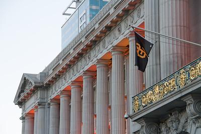 City Hall's orange lights come on