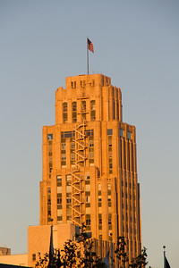 UC Hastings Dorm in orange at sunset