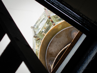 View up to the Fresnel lens.
