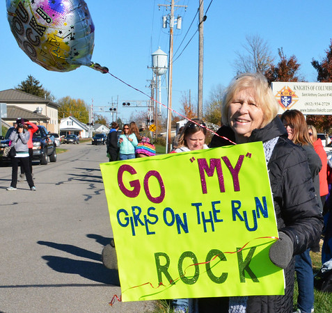 Debbie Blank | The Herald-Tribune<br /> Angie Williams, Morgantown, was near the finish line, waiting to cheer on granddaughter Mylie Wilkison, Greensburg.