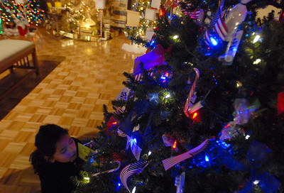 Katelin Gossman of Geneva gets a close look at one of the many Christmas trees on display at the Gevena History Center as part of the Giving Tree program in which non-profit organizations decorate trees in their theme Wednesday Dec. 19, 2012. The trees are judged by votes from residents. Erica Benson-ebenson@shawmedia.com