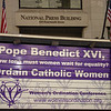 Launch of mobile billboard, designed to publicize WOC events and to follow the pope during US visit in Washington, DC, outside National Press Club on Monday, April 14th.