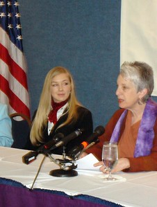Aisha Taylor, WOC Executive Director, and Gerry Rauch during press conference at National Press Club.