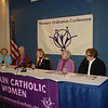 "WOC press conference launching ""Giving the Gift of Women's Leadership"" campaign, with mobile billboard, inclusive Catholic Mass presided by women, and public vigil calling for the pope to open the doors to women's ordination.  From left to right: Bridget Mary Meehan, Gerry Ruach (WOC Board President), Aisha Taylor (WOC executive director), Elsie McGrath, and Rose Marie Hudson."