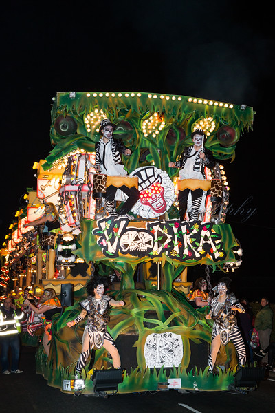 "Cannibals are dancing on the Renegades Carnival Club float ""Voodika"" at the 2013 Glastonbury Carnival"