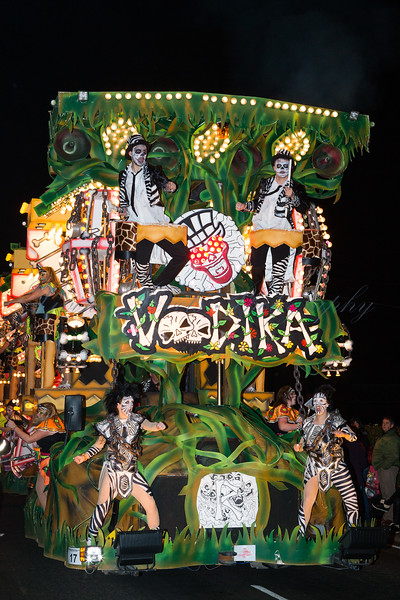 """Cannibals are dancing on the Renegades Carnival Club float """"Voodika"""" at the 2013 Glastonbury Carnival"""