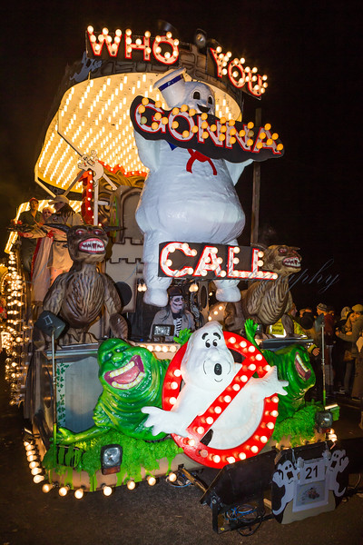 """Assorted """"Ghost Busters"""" characters on the Hot Rock Carnival Club float """"Who You Gonna Call"""""""" at the 2013 Glastonbury Carnival"""