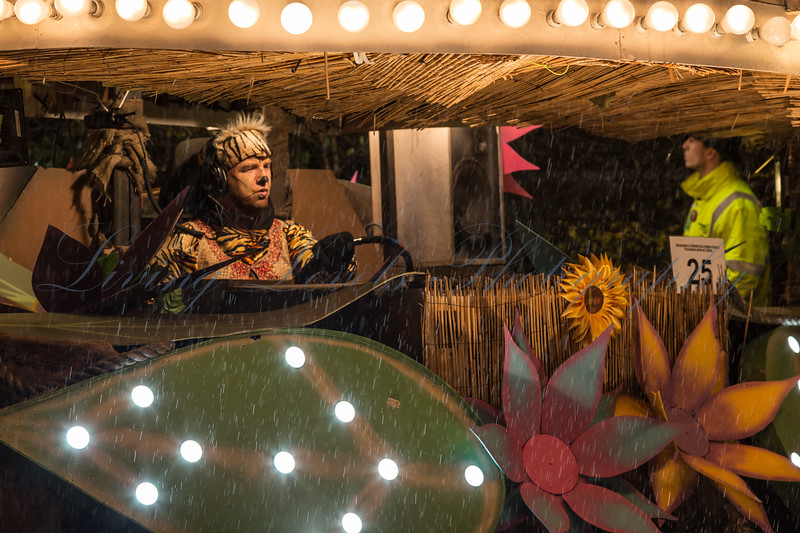 "Glastonbury, UK, 18th November 2017, Eclipse Carnival Club float ""The Adventures Of Mowgli"" at the 2017 Glastonbury Carnival"