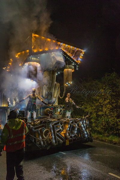 "Mendip Vale CC float ""Troy"" at the 2017 Glastonbury Carnival"