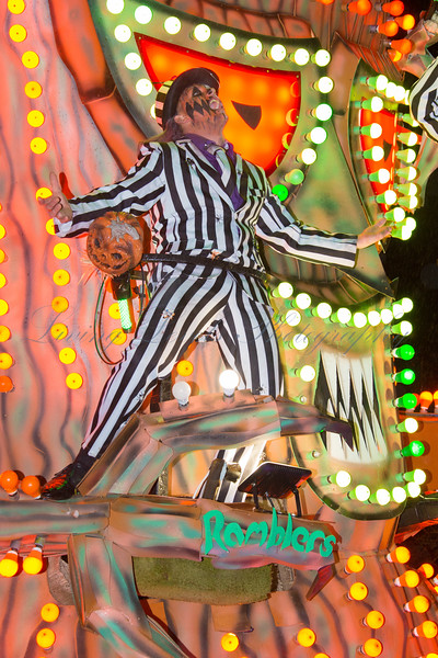 "Glastonbury, UK, 18th November 2017, Ramblers Carnival Club float "" Halloween In Deadman's Hollow"" at the 2017 Glastonbury Carnival"