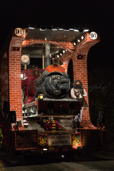 "Glastonbury, UK, 18th November 2017, King William Carnival Club float ""93/4"" at the 2017 Glastonbury Carnival"