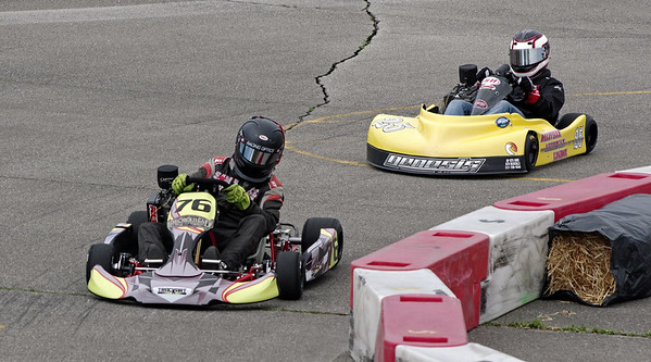 Karts enter a corner during the Mayor's Cup Grand Prix on Saturday.