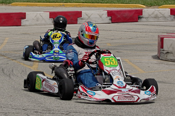 Karters negotiate one of the ten turns on the Mayor's Cup race course at the Mounds Mall.