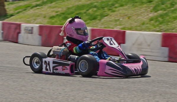 With the pigtails on her helmet flying in the breeze and her eyes focused on the track, 6-year old Kylan McFall of Anderson competes in her first ever kart race during the Mayor's Cup Grand Prix on Sunday.
