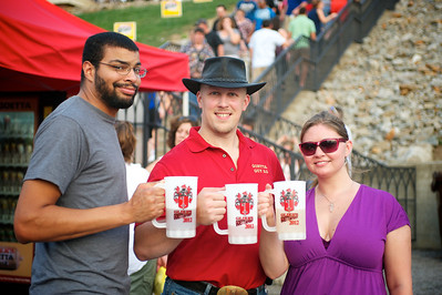 Johnathan Spieser of Forest Park, David Glier of Glier's Goetta and Stephanie Klein of the West Side at Goettafest on Saturday