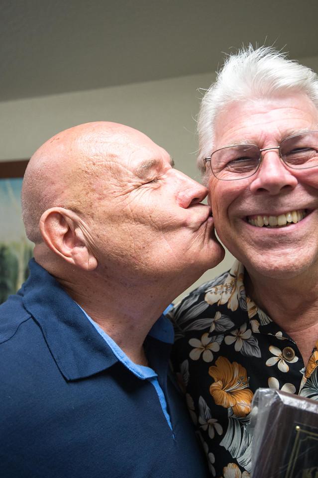 Homer congratulating the Kiwanian of the Year, Al Schafer