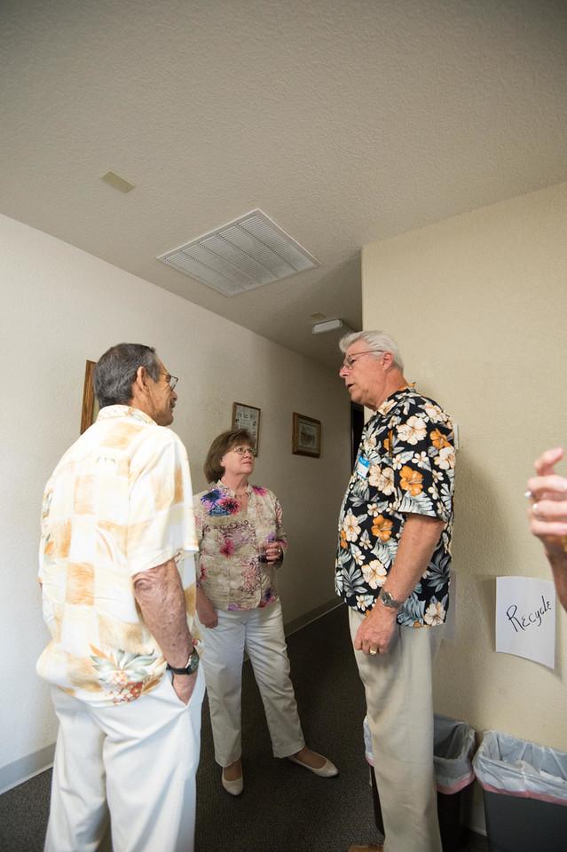 Lt. Gov. Kathleen Ross, her husband Howard talking to Kiwanian of the  Year, Al Schafer