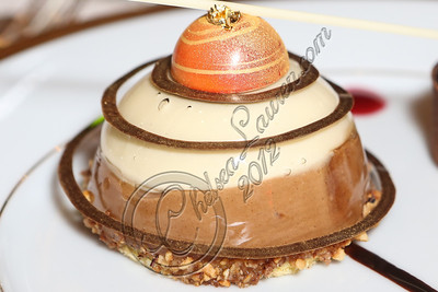 BEVERLY HILLS, CA - JANUARY 03:  A close-up view of the cappuccino mousse dome dessert prepared by executive pastry chef Thomas Henzi for the 2013 Golden Globe Awards at The Beverly Hilton Hotel on January 3, 2013 in Beverly Hills, California.  (Photo by Chelsea Lauren/WireImage)