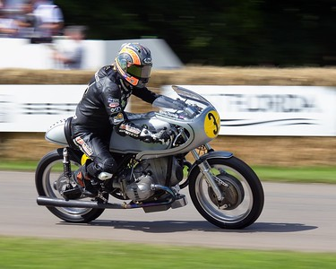 Maria Costello riding a 1966 BMW KACZOR R50S - Goodwood Festival of Speed 2016