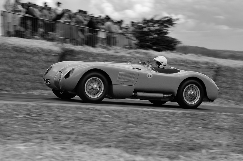 Jaguar C Type 1952 3400cc 6 cylinder Vernon Mackenzie Goodwood Festival of Speed 2014 bw nx2