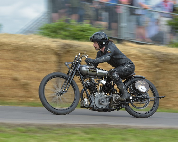 1924 Brough Superior and Ian Bain at the Goodwood Festival of Speed 2016