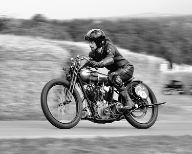1924 Brough Superior and Ian Bain at the Goodwood Festival of Speed 2016 bw