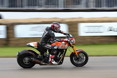 Keanu Reeves riding the Arch KRGT-1 at the Goodwood Festival of Speed 2016