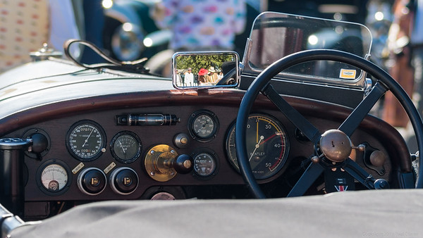 Bentley Dashboard with Red Hat in rear view mirror - Goodwood Revival 2019