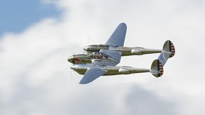 Lockheed P-38 Lightning in flight - The Goodwood Revival 2017