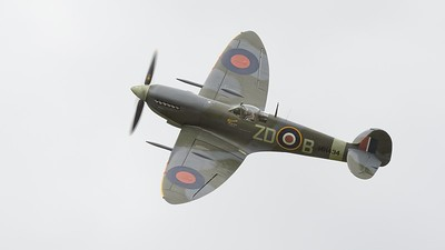 1943 Supermarine Spitfire MK 1XB in flight - grey skies - The Goodwood Revival 2017
