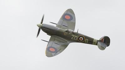 1943 Supermarine Spitfire MK 1XB in flight - grey skies - The Goodwood Revival 2017