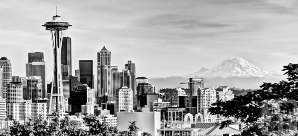 Seattle skyline and Mount Ranier with the Space Needle in black and white